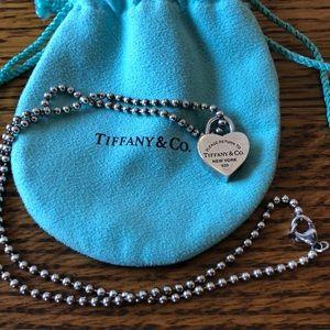 Tiffany &Co Heart lock pendant and beaded chain